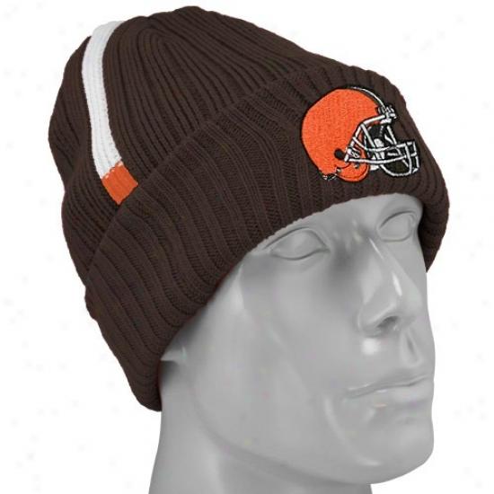 Browns Hats : Reebok Browns Brown Coaches 2nd Season Cuffed Knit Beanie
