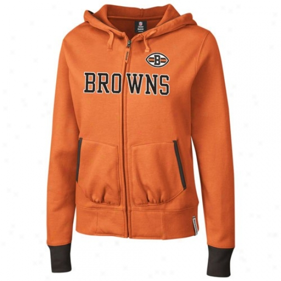Browns Hoodie : Reebok Browns Ladies Orange Chant Full Zip Hoodie