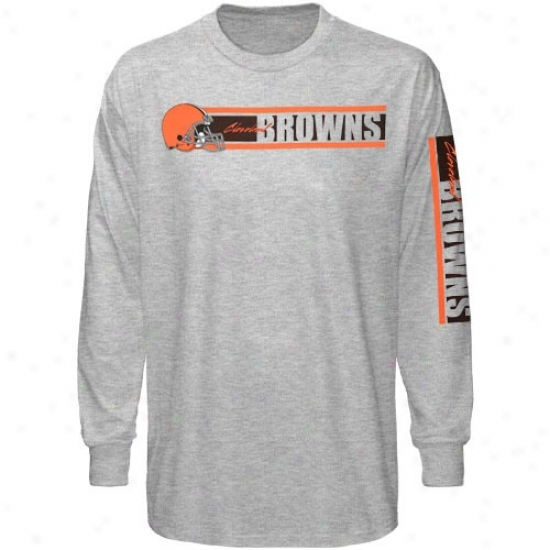 Browns Shirt : Reebok Browns Ash The Stripes Long Sleeve Shirt