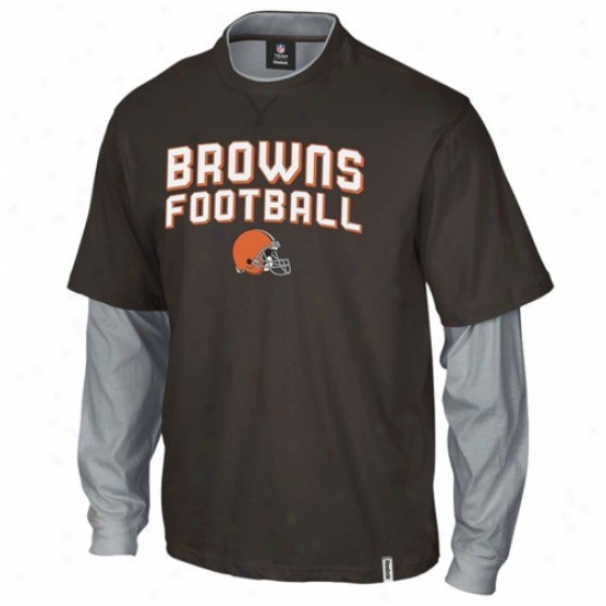 Browns Shirts : Reebok Browns Broen-gray Splitter Deceitful Layer Shirts