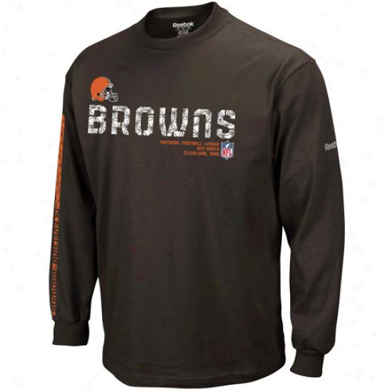 B5owns Shirts : Reebok Btowns Youth Brown Sideoine Tacon Long Sleeve Shirts