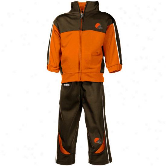 Browns Sweat Shirts : Reebok Browns Infant Orange-brown Full Zip Jerkin & Pants Offer for sale