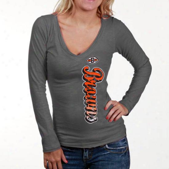 Browns T Shirt : Browns Ladies Grat Up And Down Slub V-neck Long Sleeve T Shirt