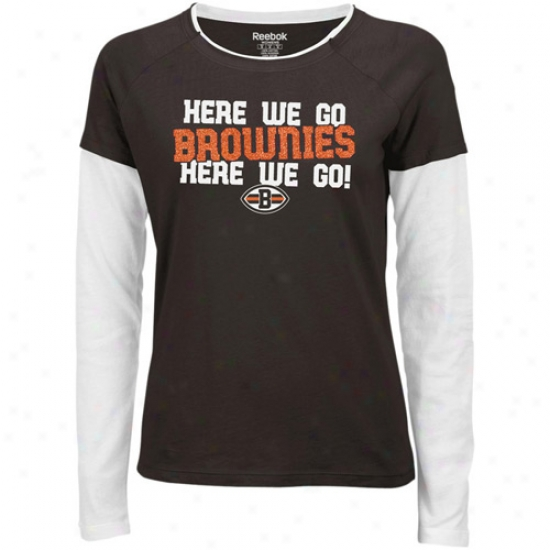 Browns T Shirt : Reebok Browns Ladies Brown Her Cheer Double Layered Tissue T Shirt