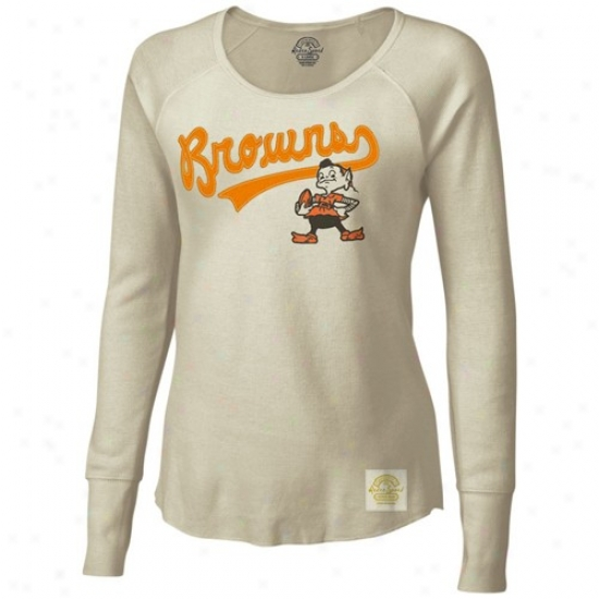 Browns T Shirt : Reebok Browns Ladies Natural Tail Sweep Long Sleeve Thermal Premium T Shurt
