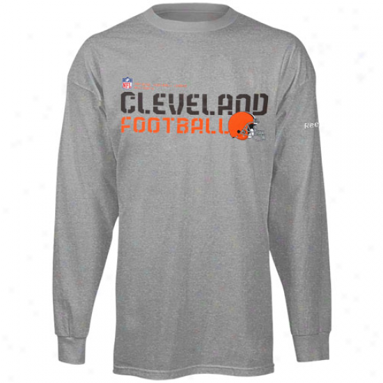 Browns T Shirt : Reebok Browns Young men Ash Sideline Statement Long Sleeve T Shirt