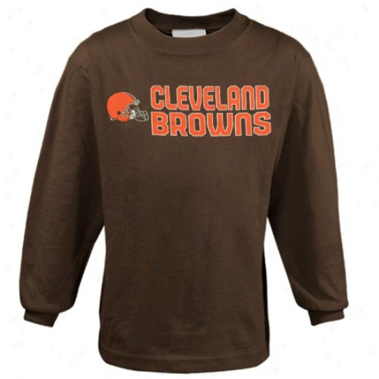 Browns Tshirt : Reebok Browns Preschool Brown Summer Stack Long Sleeve Tshirt