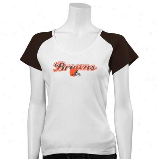 Browns Tshirts : Browns Ladies White Sparkle Queen Raglan Tshirts