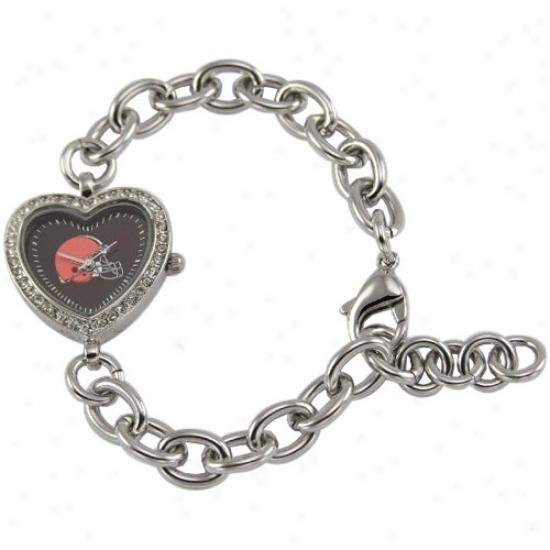 Browns Wrist Watch : Browns Ladies Silver Heart Wrist Watch