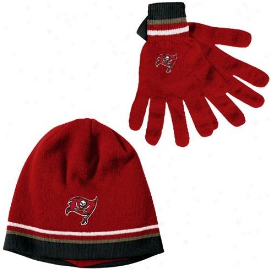 Buccaneers Cap : Reebok Buccaneers Red Gloves & Beanie Gift Immovable