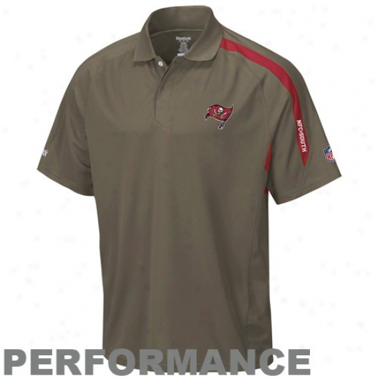 Buccaneers Golf Shirts : Reebok Buccaneers Pewter Conntact Performance Golf Shirts