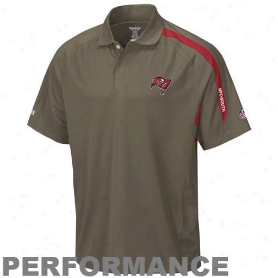 Buccaneers Golf Shirts : Reebok Buccaneers Pewter Conntact Performance Golf Shirts