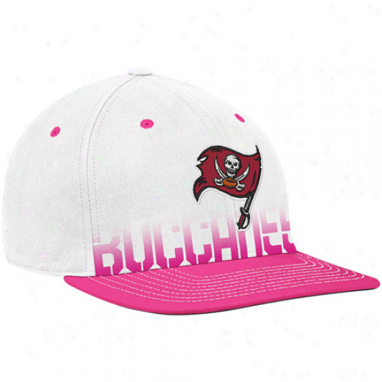 Buccaneers Hats : Reebok Buccaneers White-pink Breast Cancer Awareness Flat Brim Flex Hats