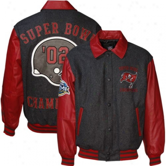 Buccaneers Jacket : Buccaneers Charcoal Wool/leather Super Bowl Champions Commemorative Jacket