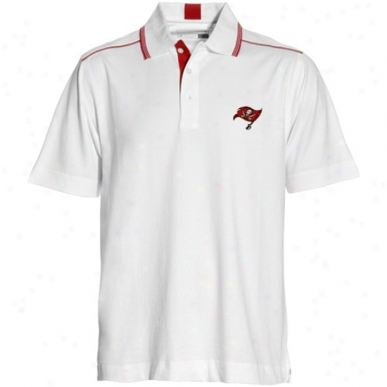 Buccaneers Polo : Cutter & Buck Buccaneers White Baseline Polo