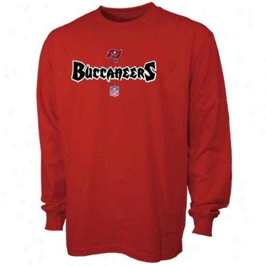 Buccaneers Shirts : Reebok Buccaneers Red Team Marks Long Sleeve Shirts