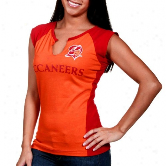 Buccaneers T-shirt : Reebok Buccaneers Ladies Orange Glaze-red Two-toned Split Neck Retro T-shirt