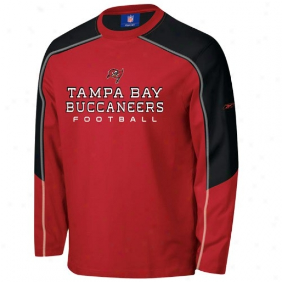 Buccaneers Tshirt : Reebok Buccaneers Red Match-up Constructed Long Sleeve Tshirt