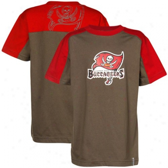 Buccaneers Tshirt : Reebok Bcucaneers Youth Pewter-red Draft Pick Tshirt