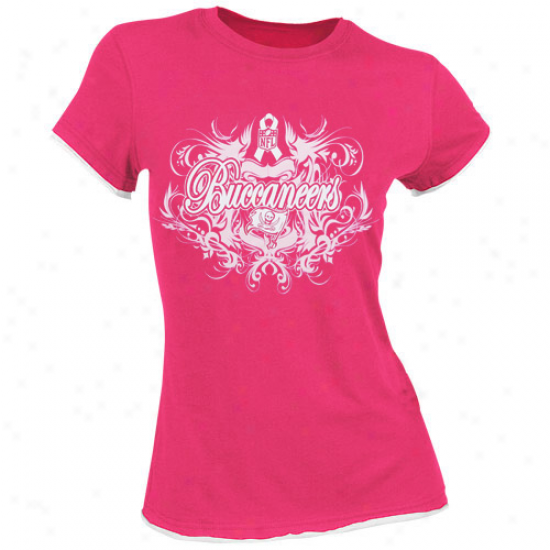 Bucccaneers Tshirts : Reebok Bucczneers Ladies Minnow Breast Cancer Awareness Flourish Tlssue Premium Tshirts