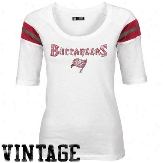 Bucs Attire: Bucs Ladies White Hot Route 3/4 Length Sleeve Vintage T-shirt