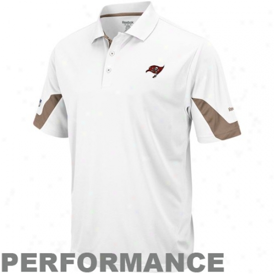 Bucs Clothes: Reebik Bucs White-pewter Sideline Team Performance Polo