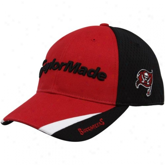 Bucs Hats : Taylormade Bucs Red-black 2010 Nfl Golf Adjustable Hats