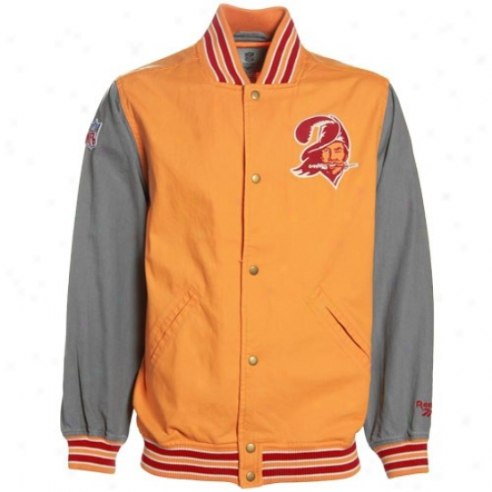 Bucs Jerkin : Reebok Bucs Orange Glaze hTrowback Varsity Canvas Jacket