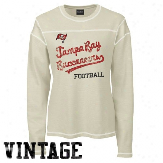 Bucs Tees : Reebok Bucs Ladies Cream Michelle Thermal Long Sleeve Vintage Tees