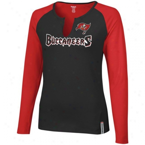 Bucs Tshirt : Reebok Bucs Ladies Black-redH igh Pitch Long Sleeve Premium Tshirt