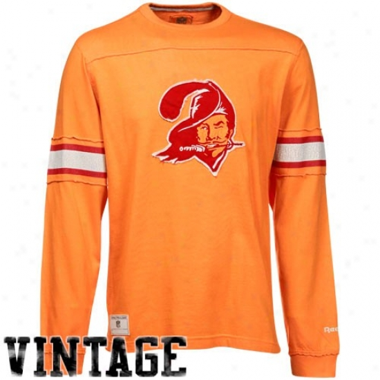 Bucs Tshirt : Reebok Bucs Orange Glaze Distressed Throwback Applique Premium Long Sleeve Tshirt