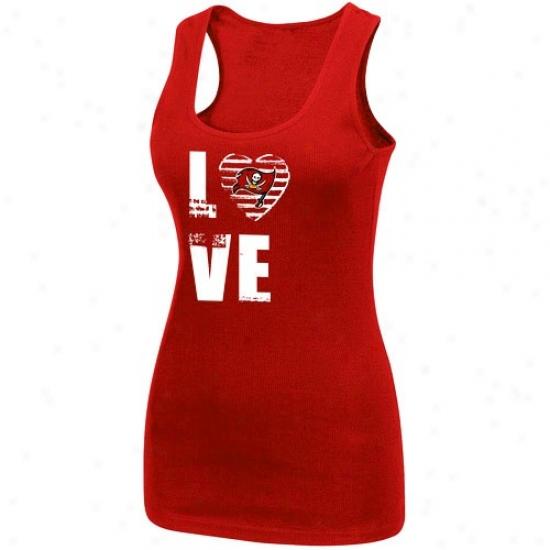 Bucs Tshirts : Bucs Ladies Red Play Tmie Iii Tank Tip