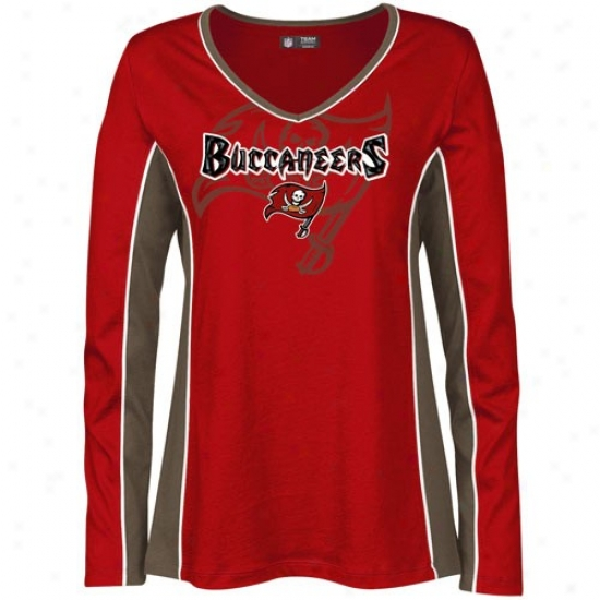 Bucs Tshirts : Bucs Ladies Red Prized Possession Long Slevee Tshirts