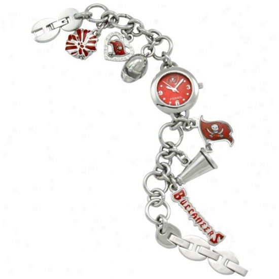 Bucs Watch : Fossil Bucs Ladies Stainless Steel Bracelet Charm Watch