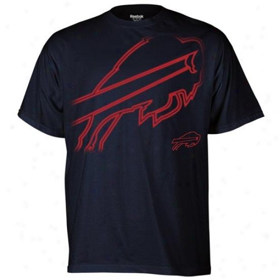 Buffalo Kiss Apparel: Reebok Buffalo Bill Navy Blue Huge Logo T-shirt