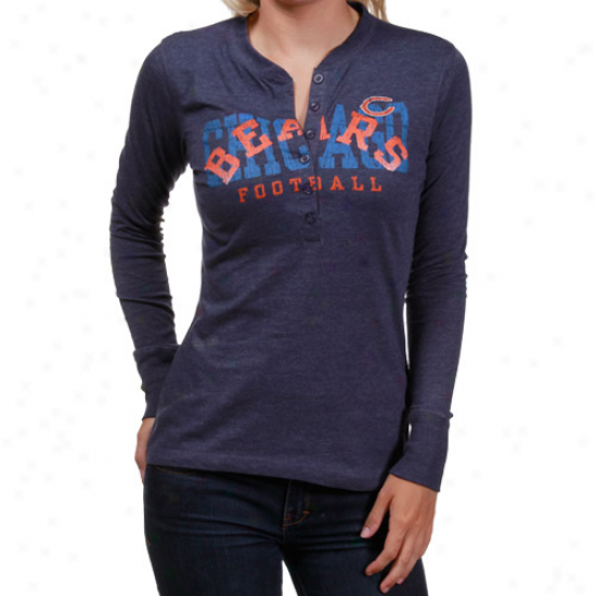 Buffalo Bill T-shirt : Buffalo Bill Ladies Navy Blue Game Day Gal Long Slevee Heathered Henley T-shirt
