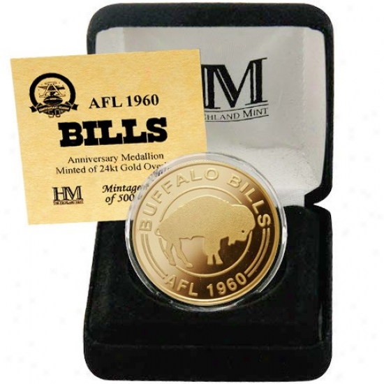 Buffalo Bills Afl 50th Anniversary 24kt Gold Coin
