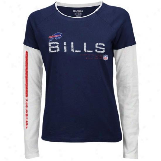 Buffalo Bills Apparel: Reebok Buffalo Bills Ladies Navy Blue Sideline Tacon Long Sleeve Layered Tissue T-shirt