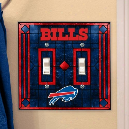 Buffalo Bills Art-glass Double Switch Plate Cover