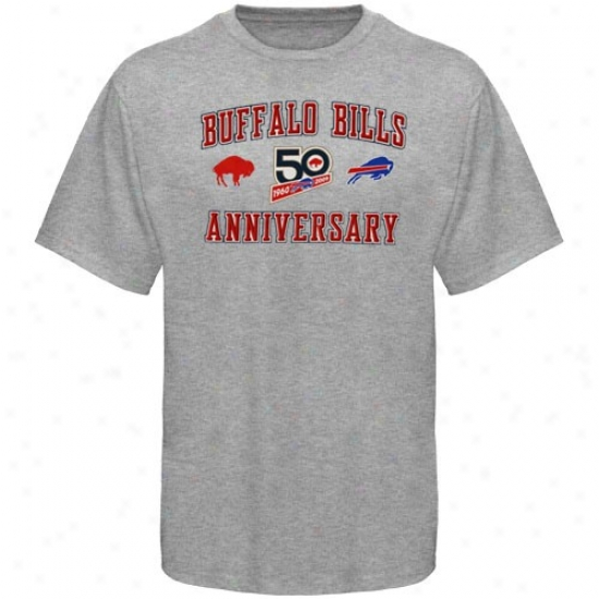 Buffalo Bills Attire: Reebok Buffalo Bills Ash 50th Anniversary Arch T-shirt