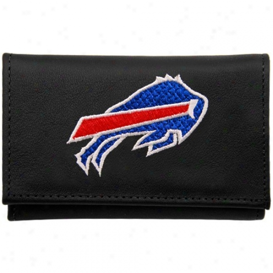 Buffalo Bills Black Leather Embroidered Trifold Wallet