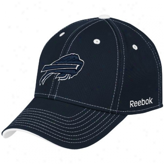 Buffalo Bills Hats : Reebok Buffalo Bills Navy Blue Tonal Team Logo Flex Fit Hats