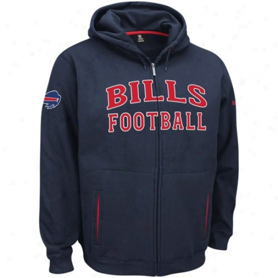 Buffalo Bills Hoodie : Reebok Buffalo Bills Navy Blue Overtime Full Zip Hoodie