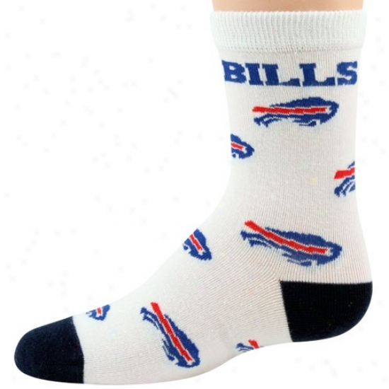 Buffalo Bills Preschool hWite Whole Over Logo Print Socks