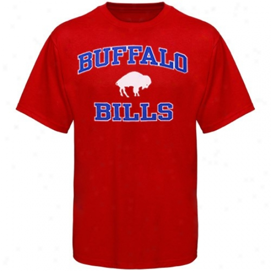 Buffalo Bills T-shirt : Buffalo Bills Red Throwback Heart And Soul T-shirt