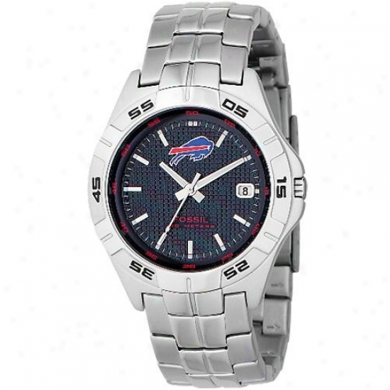 Buffalo Bills Watches : Fossil Buffalo Bills Men's Stainless Case-harden Analog 3 Hand Begin Watches