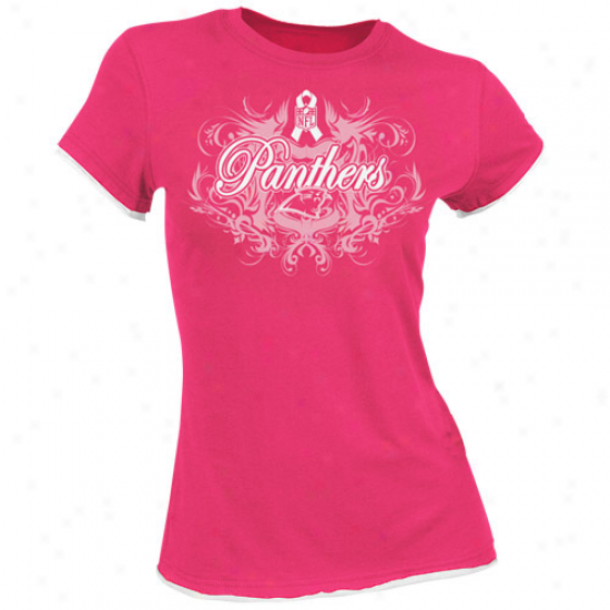 Carolina Panther Attire: Reebok Carolina Panther Ladies Pink Breast Cancer Awareness Flourish Tissue Premium T-shirt