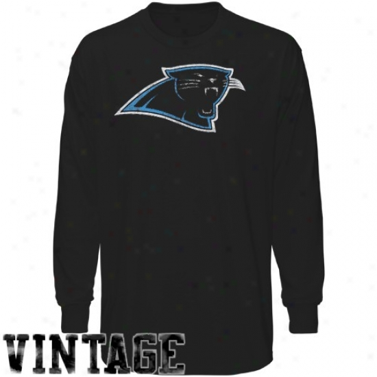 Carolina Panther Attire: Reebok Carolina Panther Youth Black Faded Logo Long Sleeve Vintage T-shirt
