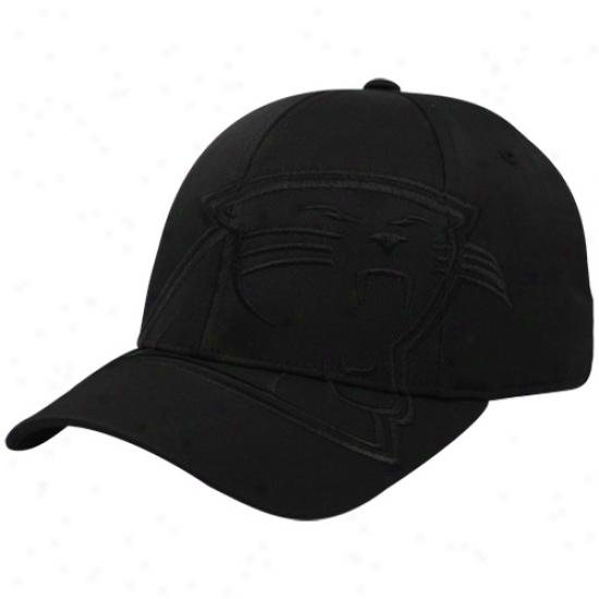 Carolina Panther Cap : Reebok Carolina Panther Black Tonal Structured Flex Fit Cap