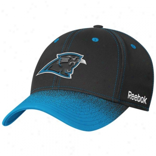 Carolina Panther Caps : Reebok Carolina Panther Black Fadeout Sideline 2nd Season Player Flex Fit Caps